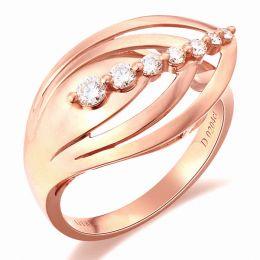 Bague fiançaille - Bague en or rose 18 carats - Diamants 0.204ct