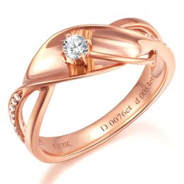 Bague fiançaille en or rose 750/1000 - Diamants 0.15ct