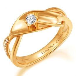 Bague fiançaille en or jaune 750/1000 - Diamants 0.15ct