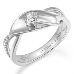 Bague fiançaille en or blanc 750/1000 - Diamants 0.15ct