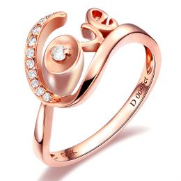 Bague Love - Bague or rose originale 18cts - Diamants 0.095ct
