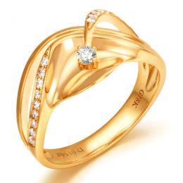 Bague or diamant - Or jaune 18 carats - Diamants 0.154ct