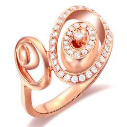 Bague Love - Bague moderne en or rose - 45 Diamants de 0.283ct
