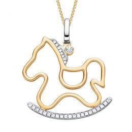 Pendentif Cheval à bascule. Or jaune et blanc. Diamants