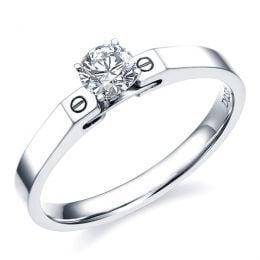 Bague solitaire or blanc - Diamant 0.30ct