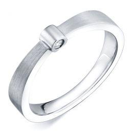 Bague anneau or blanc - 2 Diamants sertis clos | Dunham