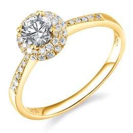 Solitaire en or jaune 18 carats - Bague fiancaille diamants 0.58ct | Gemperles