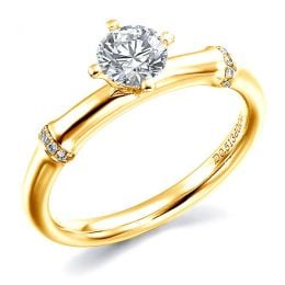 Bague Solitaire Bambou Végétal - Or Jaune & Diamants 0.59ct | Gemperles