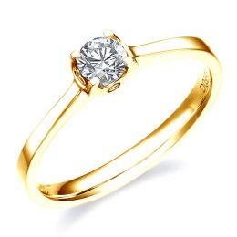 Solitaire or - Bague de fiançaille or jaune et diamants 0.20ct