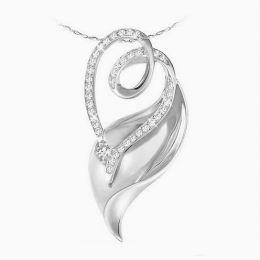 Pendentif diamants or blanc - Style sinueux