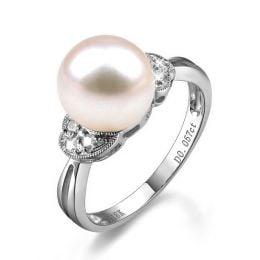 Bague perle Chine - Perle d'eau douce blanche - Diamants, or blanc