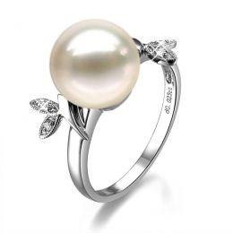 Bague Perle Or Blanc Diamant. Feuilles Étincelantes