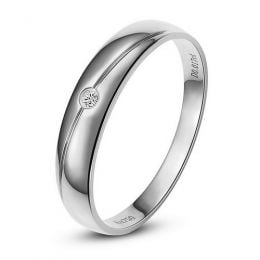 Alliance Homme. Or blanc 18cts, Diamant 0.017ct | Marteen