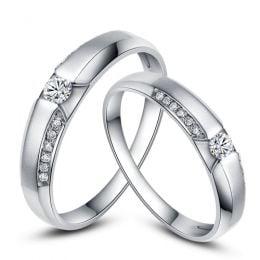 Achat alliances mariage - Alliances Solitaires Duo - Platine, diamants