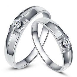 Alliances solitaires sophistiqués. Alliances duo. Or blanc, Diamants | Constance & Schubert