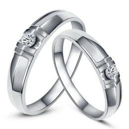 Alliances solitaires sophistiqués. Alliances duo. Platine, Diamants | Constance & Schubert