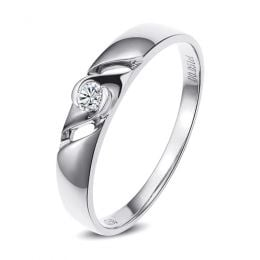 Bijoutier alliance de fiançaille - Alliance Homme diamant - Or blanc
