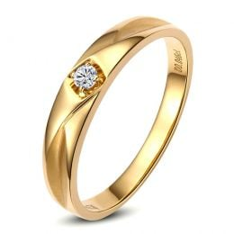 Alliance diamant or jaune - Alliance pour Elle