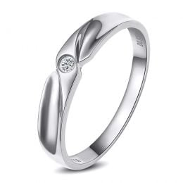 Alliance originale or blanc - Alliance Femme - Diamant
