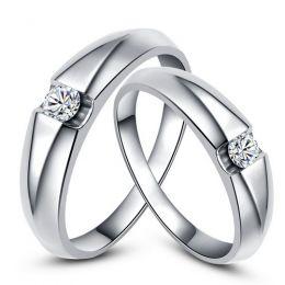 Alliances solitaires platine - Bagues alliances diamants - Couple