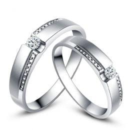Alliances solitaires or blanc 750/1000 - Bagues Duo diamants | Déa & Blum