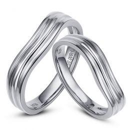 Alliances ondulées motifs striés - Platine - Diamants - Duo