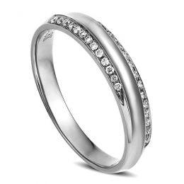 Alliance Femme. Platine. Diamants 0.11ct
