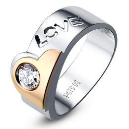 Grosse bague homme - Chevalière Love 2 Ors - Diamant 0.515ct
