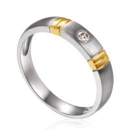 Alliance deux ors - Alliance diamant or blanc et jaune - Homme