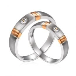 Alliances Couple. 2 Ors. Diamants 0.130ct