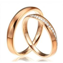 Alliances modernes homme et femme. Or rose 18cts, diamants | Aurélia & Quinto