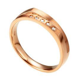 Alliance mariage 2 anneaux en 1. Homme moderne Or rose