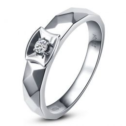 Alliance bague facettée - Alliance diamant Femme - Or blanc | Correspondance