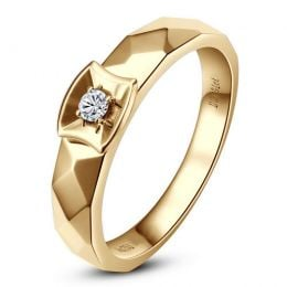 Alliance bague facettée - Alliance diamant Femme - Or jaune | Correspondance