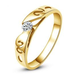 Mon alliance de mariage - Alliance originale or jaune, diamant - Femme