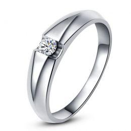 Alliance solitaire or blanc - Bague alliance diamant pour Homme   Marquis