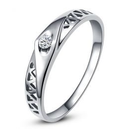 Alliance contemporaine -  Alliance Femme Or blanc - Diamant