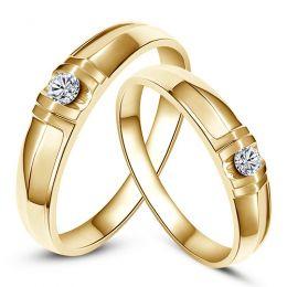 Alliances solitaires sophistiqués. Alliances duo. Or jaune, Diamants | Mathilde & Berlioz