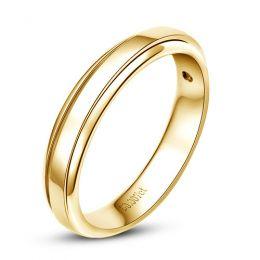 Anneau d'or jaune 750/1000 - Alliance androgyne Femme - Diamant | Annabelle