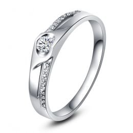Alliance Femme solitaire diamants - Alliance moderne Or blanc 18cts