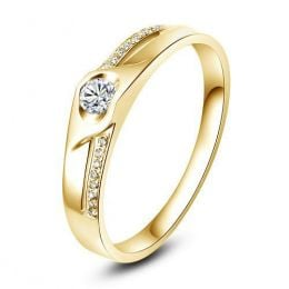 Alliance Femme solitaire diamants - Alliance moderne Or jaune 18cts