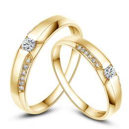 Achat alliances mariage - Alliances Solitaires Duo - Or jaune, diamants