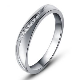 Alliance or mariage - Alliance diamants - Or blanc, Homme