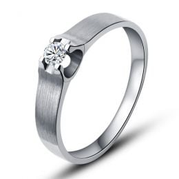 Alliance or blanc et diamant - Alliance solitaire pour Femme