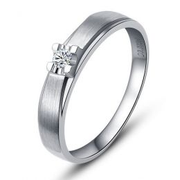 Alliance solitaire - Alliance Homme - Platine - Diamant