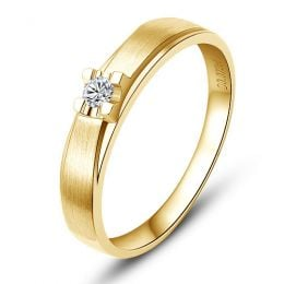 Alliance solitaire or - Alliance Femme - Or jaune - Diamant