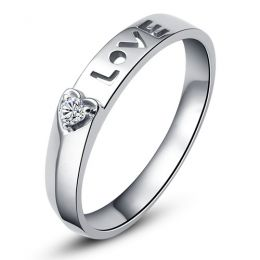 Alliance Love & Coeur de diamant - Or blanc 750/1000 - Pour Femme