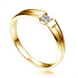 Alliance solitaire diamant -  Alliance Femme or jaune 18cts | Divona