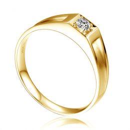 Alliance de type solitaire.  Alliance Femme en or jaune et diamant | Chana