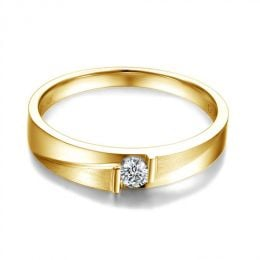 Alliance diamant sertissage demi clos - Métal or jaune 18cts - Femme